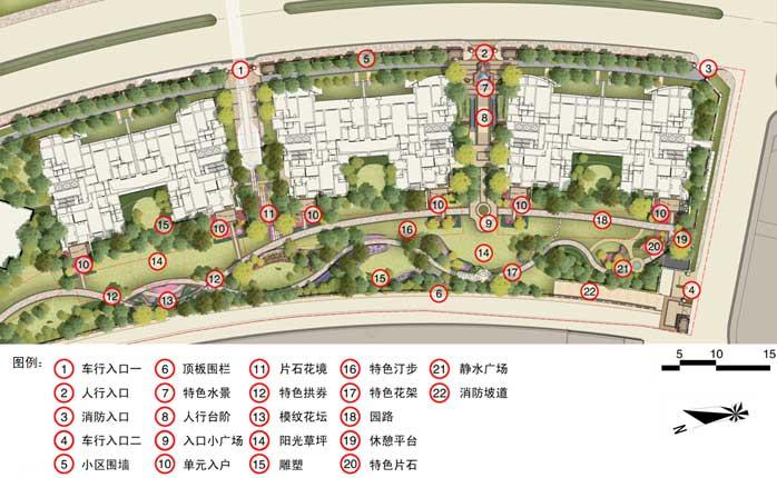 景观长方形带状公园手绘平面图