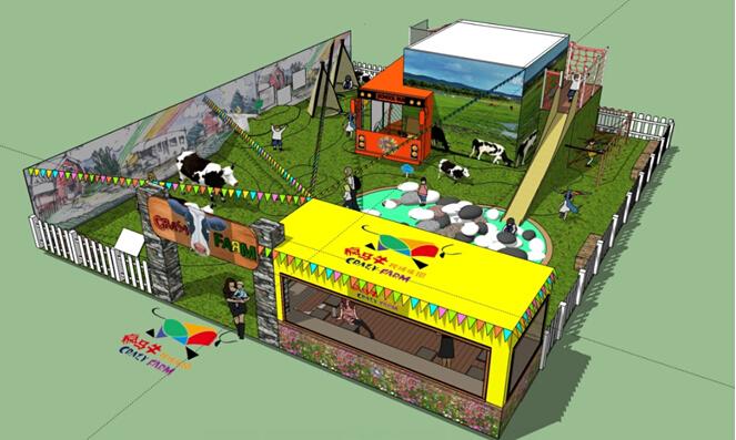 """展位设计以""""疯马牛牧场乐园""""为主题,运用集装箱注入艺术 自然的理念"""